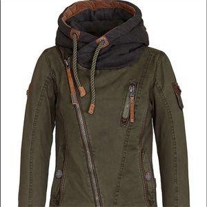 Youboya green utility jacket with hoodie - size m